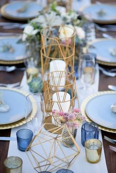 dusty blue and copper geometric wedding centerpiece / http://www.deerpearlflowers.com/dusty-blue-and-copper-wedding-color-ideas/