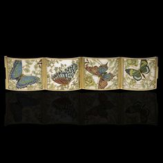 CARRERAS ,CARRERAS Barcelona Art Nouveau c1905 Beautiful yellow gold, frosted glass and enamel panel bracelet