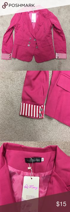 Magenta blazer Magenta color blazer with striped cuffs and rhinestones to finish it off! This is a Chinese XL but fits like a medium. Di Meng Jackets & Coats Blazers