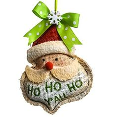 Burlap Santa Ornament http://shop.crackerbarrel.com/Burlap-Santa-Ornament/dp/B013RF8WD6