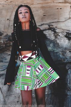 OOAK African Kente Print high waisted skater skirt handmade from high quality printed Kente Fabric. This skirt has been made with love threads and fairy dust with lots of attention to detail¸.•*¨`*...