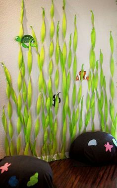 "Under the Sea Theme~ Seaweed streamers and rock ""pillows"" for a photo booth! Little Mermaid Birthday, Little Mermaid Parties, The Little Mermaid, Little Mermaid Crafts, Little Mermaid Decorations, Mermaid Birthday Outfit, Mermaid Outfit, Under The Sea Theme, Under The Sea Party"
