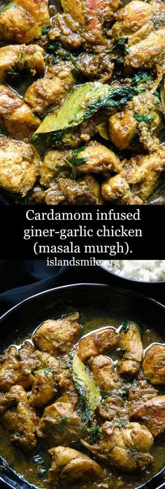 cardamom infused ginger-garlic chicken, bold flavors that packs a punch in to your meals. comfort food never looked so good. #food #recipe #chicken #curry #cardamom #ginger