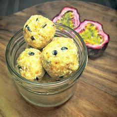 passionfruit bliss balls Healthy Mummy Recipes, Healthy Treats, Sweet Recipes, Snack Recipes, Healthy Eating, Cooking Recipes, Clean Eating, Dairy Recipes, Healthy Protein