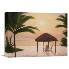 Global Gallery 'Beach Tiki' by Diane Romanello Painting Print on Wrapped Canvas Size: