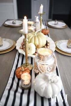Fall Dining Room Decoration Idea With A Glam Fall Centerpiece Of A Striped Runner And Fake Pumpkins Plus Nuts And Acorns And Candles And A Mercury Glass Lantern Modern Fall Decor, Fall Home Decor, Autumn Home, Diy Thanksgiving, Thanksgiving Decorations, Table Decorations, Table Centerpieces, Seasonal Decor, Halloween Decorations