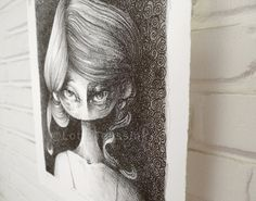 Original illustration with the quirky portrait of girl - black & white fantasy fairytale art pop surrealism- lithography - unique wall art
