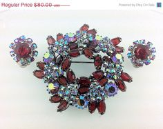 """25% Off - NEW YEAR """"SALE"""" Amazing Red and Aurora Borealis Rhinestone Brooch and Earring Set. jewelry. on Etsy, $60.00"""