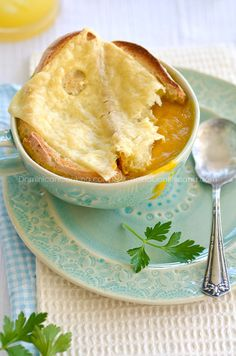 Roasted auyama (West Indies pumpkin) cream with swiss cheese crostini.