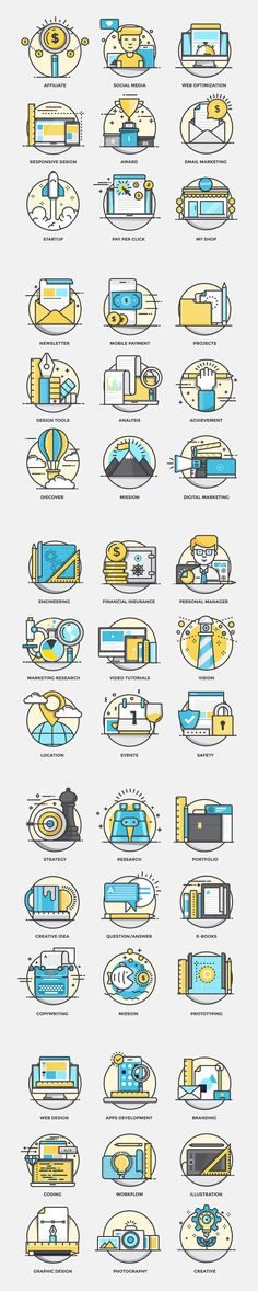 Set of Flat Color Line Design Concepts for creating amazing websites on various topics of Social Media, Digital Marketing, Design Studio, Startup, Tools, email Marketing, My Shop, Commerce, Mission, Prototyping ,Cloud Storage, Seo, Web Design, graphic Des…