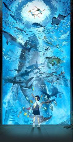 Fantasy Landscape, Fantasy Art, Aesthetic Art, Aesthetic Anime, Super Heroine, Beautiful Dark Art, Underwater Art, Japon Illustration, Anime Scenery Wallpaper