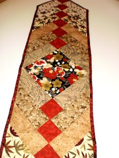 "French Braid quilted table runner in autumn tonings 9.5"" X 39.5"" (23 X 101 cm)"
