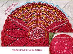 EU TAMBÉM CROCHETO...: Tapete Vermelho Flor em Trapilho (Fio de Malha)