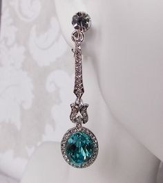 Light Turquoise Swarovski Crystal Art Deco Chandelier by dalfiya
