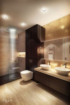 Elegant, modern bathroom in warm colors, with semi open shower cabin and illumin. - Home and Garden Decoration