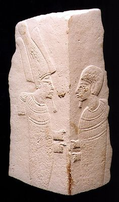 Limestone Fragment Depicting Two Deities,          Origin: Egypt Circa: 900 BC to 500 BC