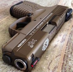 Weapons Lover — Two tone Springfield XD-S - Flat Dark Earth. Weapons Guns, Guns And Ammo, Xd Springfield, Armas Airsoft, Armas Wallpaper, Rifles, Custom Guns, Custom Glock, Military Guns