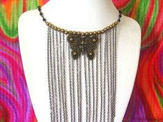 Chain Necklace Brass Necklace Butterfly by DefinitelyDifferent, $39.00