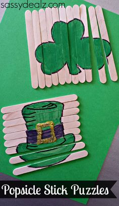 St. Patrick's Day Popsicle Stick Craft For Kids #DIY #Puzzles (Shamrock and Leprechaun Hat) | http://www.sassydealz.com/2014/02/st-patricks-day-popsicle-stick-craft-diy-puzzles.html