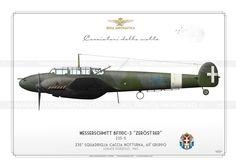 Messerschmitt BF110C-3  Italian Air Force(WW2) . Regia Aeronautica  235a Squadriglia Caccia Notturna, 60° Gruppo  Lonate-Pozzolo, 1943