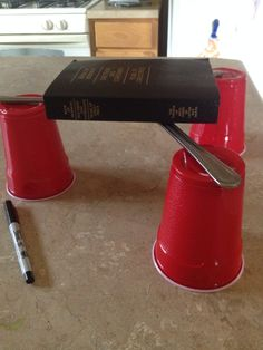 This is a great object lesson to describe the keystone of our religion. Interlock the butter knifes. Then place a book of mormon in the middle. I used a book with book of mormon pearl of great price and d and c.