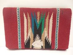 Vintage-Hand-Woven-Wool-Indian-Native-American-Chimayo-Blanket-Clutch-Purse