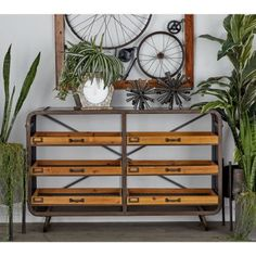 Decmode - Industrial Brown Metal Console with Six Basket Drawers, 49 inch x 31 inch Size: Industrial Console Tables, Iron Console Table, Wooden Console Table, Entryway Console, Wood Sideboard, Entryway Tables, Metal Table Frame, Basket Drawers, Wood Drawers