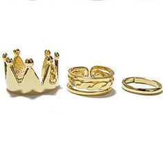 Fashion Personality Hollow Ring Opening Three-Piece Suit Per Set Crown Round Ring Wholesale