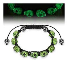 Bracelet with Glow in the Dark Skull Beads