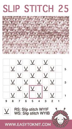 Slip Stitch Knititng Linen - Easy To Knit - Crochet Clothing 2019 - 2020 Slip Stitch Knitting, Knitting Basics, Knitting Charts, Loom Knitting, Knitting Stitches, Knit Linen Stitch, Crochet Stitches Patterns, Stitch Patterns, Knitting Patterns