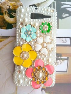 Verizon Motorola Droid Razr M XT907 Fashional Bling Charms Phone Case Cover Skin:  Pearl   Rhinestone Lovely Gilding Colorized Flowers via Etsy