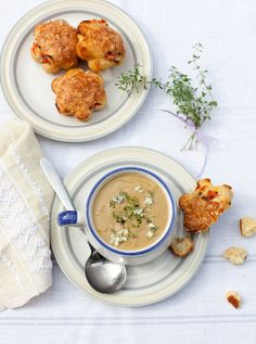 Roasted Eggplant soup with Tomato & cheese muffins