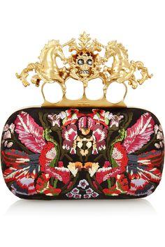 Alexander McQueen|Unicorn Skull embroidered satin box clutch