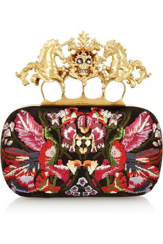 Alexander McQueen | Unicorn Skull embroidered satin box clutch