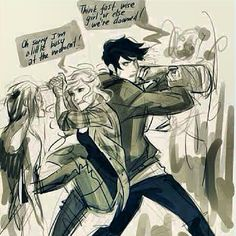 A really badass drawing of Percabeth.