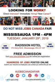 Looking for a job? Immediate hiring? JOBS CANADA FAIR - Oshawa, November From 1 - Admission. Meet recruiters from Register online today! Vancouver, One King West, Virtual Jobs, Interview, Register Online, Job Fair, Looking For A Job, Job Posting, New Career