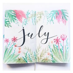 Welcome Home July! This time I wanted to do something tropical! What do you think? . . . #july #summer #bujo #bujolover #bujoaddict #bujojunkies #bullet #bulletjournal #bulletjournaling #bulletjournallove #bulletjournalideas #journal #journaling #planner #planning #decoration #ideas #inspo #inspiration #tropical #lettering #brushpen #brushlettering #koiwatercolors #watercolor #drawing #painting #cover