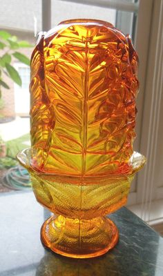 "6.5"" Viking Vintage Glass  LOTUS LEAF FAIRY LAMP Tea Light Candle Holder Orange #Viking"