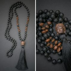 BUDDHA MALA long necklace with a carved wooden Buddha // BUDDHA pendant / silky tassel / lava beads // Buddhist mala rosary fashion look