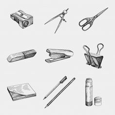 Hand-drawn sketch of stationery supplies... | Premium Vector #Freepik #vector #school #office #black #white Basic Sketching, Basic Drawing, Drawing Lessons, Still Life Pencil Shading, Still Life Drawing, Cool Pencil Drawings, Anime Drawings Sketches, Compass Drawing, Perspective Sketch