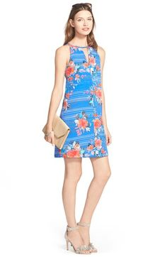 Charles Henry Keyhole Crepe A-Line Dress available at #Nordstrom