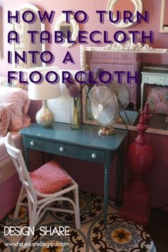 Grab up fabric tablecloths when you see them on sale and use this technique to turn them into floorcloths ~ far less expensive than rugs and a great decor addition to any room.