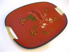 The coolest way in town to carry those burgers from the grill to the table! Vintage Florida serving tray orange 1960s kitschy by 3floridagirls  https://www.etsy.com/listing/214250381/vintage-florida-serving-tray-orange