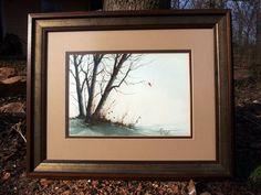 http://stores.ebay.com/mariasantiqueandvintage Horton Signed Original Watercolor Painting Winter Scene Oak Trees with Cardinal  #Realism