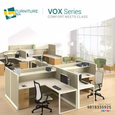 We bring elegance and professional style into your workspace with Vox series For any kind of information👇 Talk to our representative today ☎ Call: 9818335925 visit: www. Furniture Box, Solid Wood Furniture, Office Furniture, Furniture Design, Luxury Office, Conference Table, Reception Table, Service Design, Custom Design