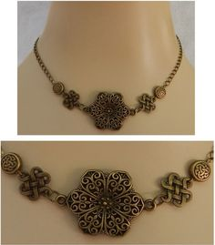 Burnished Gold Celtic Knots & Flower Necklace Jewelry Handmade NEW Accessories #handmade http://www.ebay.com/itm/Burnished-Gold-Celtic-Knots-amp-Flower-Necklace-Jewelry-Handmade-NEW-Accessories-/161506482780?