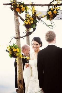 Beautiful fall wedding chuppah