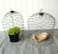 Hope and Joy Home: Projects for the Show Paper Peonies and Chicken Wire Cloches Wire Art Sculpture, Garden Sculpture, Sculptures, Chicken Wire Crafts, Garden Cloche, Paper Peonies, Kitchen Organization Pantry, Modern Ranch, Chicken Wraps