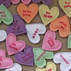 All In One Days Time: Felt Conversation Hearts