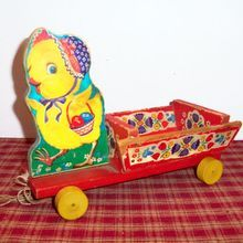 Fisher Price 1954 Chick Cart Pull Toy - Marked Found on Ruby Lane